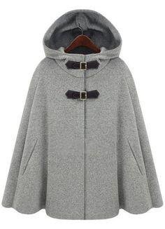 Grey Hoodie Two PU Buckle Woolen Cape Coat