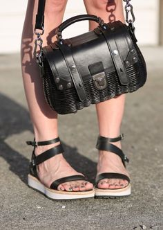 Street Style: Dolce Vita sandals and OrYany basket weave bag