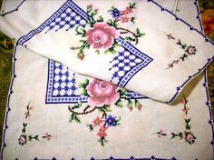 Cross Stitch Table Runner Roses Vintage by by stbthreadworks on etsy.