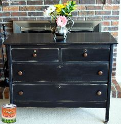 Sweet Threepeats, https://www.facebook.com/sweetthreepeats?fref=ts, refinished this dresser with General Finishes Lamp Black Milk Paint.  Looks great!  You can find your favorite GF products at Woodcraft, Rockler Woodworking stores or Wood Essence in Canada. You can also use your zip code to find a retailer near you at http://generalfinishes.com/where-buy#.UvASj1M3mIY.  #generalfinishes #gfmilkpaint #paintedfurniture
