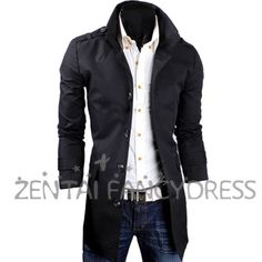 Mens Black High Neck Slim Fit Casual Formal Trench Coat Wind Breaker Outerwear Jacket