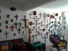 Huge wooden cross art piece crosses barn boart junk metal flowers mexico mexican devil masks chiapas jaguar angels