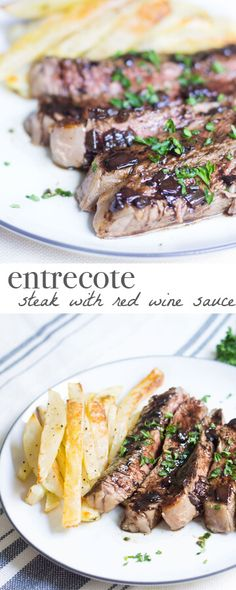 Super easy steak recipe with a quick red wine sauce that is absolutely drool worthy! Recipe via MonPetitFour.com