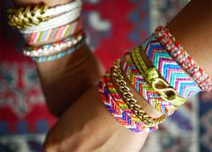 Friendship bracelets. I need to go make a whole load of these right now. Also, how awesome would these be as headbands?