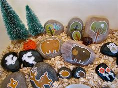 Story stones: Paint characters on stones for kids to play with or to help with story telling. Great idea