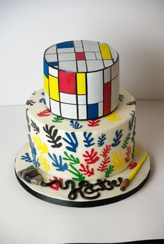 Cake based on the art of Mondrian (top) and Matisse (bottom) for an art-lover's birthday