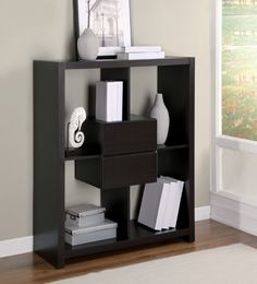 """Lumesty - Bookcase with 2 Drawers 47"""" Cappuccino Wood I 2527"""