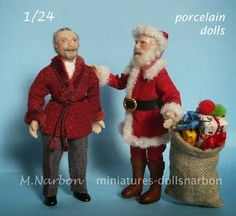 Half inch scale porcelain dolls by Maria Narbon