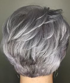 Latest Pictures of Short Layered Haircuts. Disregard long locks, short layered haircuts are the absolute most sizzling patterns this year! Short Grey Hair, Short Hair With Layers, Short Hair Cuts For Women, Short Hair Styles, Silver Grey Hair Gray Hairstyles, Short Cuts, Short Stacked Hair, Short Silver Hair, Short Blonde
