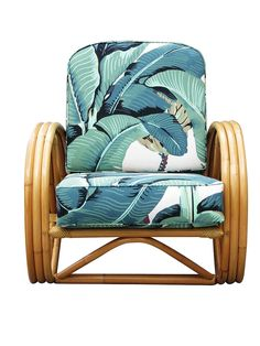 3/4 Round Pretzel Rattan Lounge Chair with Beverly Palms Cushions 3