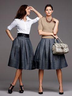 outfit falda de jean redonda - Buscar con Google
