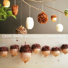corner blog: diy crepe paper woodland ornaments #HolidayPinParty
