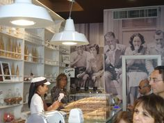 Love the giant  black and white photo of people eating gelato