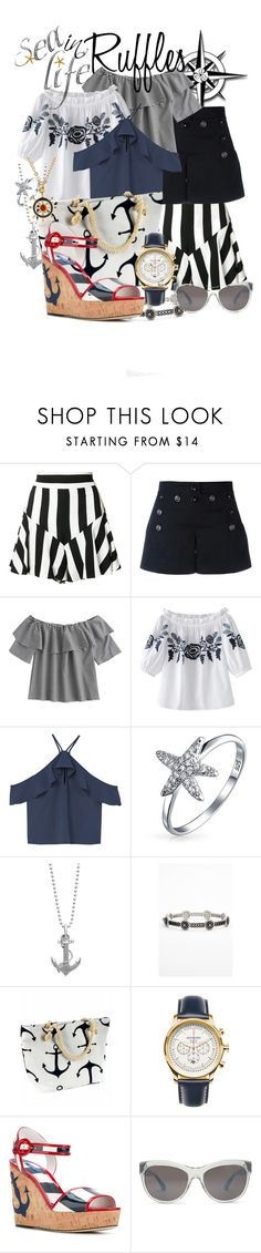 """""""Ruffled Tops.. Nautical Style"""" by mia-christine ❤ liked on Polyvore featuring Milly, Dolce&Gabbana, MANGO, Bling Jewelry, Lagos, Freida Rothman, Jack Mason, Kenneth Cole and ruffledtops"""