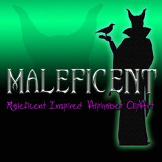 Maleficent Inspired Alphabet Clipart, Printable Maleficent Chrome Letters and Numbers + Punctuation,  Digital Maleficent Alphabet #scrapbooking #custominvitation