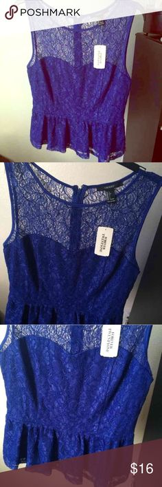 Forever 21 royal blue lace peplum Large NEW WITH TAGS! Forever 21 Tops Blouses