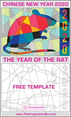This Chinese New Year 2020, Year of The Rat FREE printable coloring activity is an easy fun Chinese New Year craft for kids - a no prep art lesson plan for the classroom or homeschooler #chinesenewyear #yearoftherat #rat. Click on the link to download this free template, have fun!
