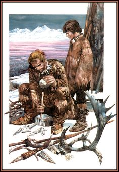 Flint knapping, beautiful illustration by Sergio Toppi Primitive Kunst, Cave Bear, Prehistoric Man, Flint Knapping, Early Humans, Iron Age, Le Far West, Mountain Man, Fantasy Characters