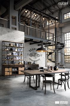 Give Your Rooms Some Spark With These Easy Vintage Industrial Furniture and Design Tips Do you love vintage industrial design and wish that you could turn your home-decorating visions into gorgeous reality? Loft Interior Design, Loft Design, Garage Design, Deco Design, Interior Decorating, House Design, Design Moderne, Industrial Interior Design, Vintage Industrial Furniture