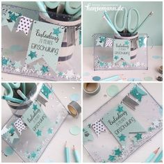 Mint - invitation to start school - Bastel DIY - Romantic Birthday Cards, Best Friend Birthday Cards, Creative Birthday Cards, Daughter Birthday Cards, Homemade Birthday Cards, Birthday Cards For Boyfriend, Birthday Cards For Friends, Happy Birthday Cards, Birthday Greeting Cards