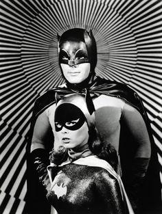 Batman and Batgirl, 1960s TV Series. ( Psychedelic Batman / Mod Batman / Black White Photo / Photography / Vintage / Retro )