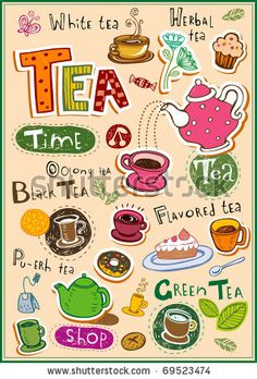 Set of tea design elements and inscriptions by Anastacia Zalevska, via Shutterstock