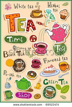 stock vector : Set of tea design elements and inscriptions
