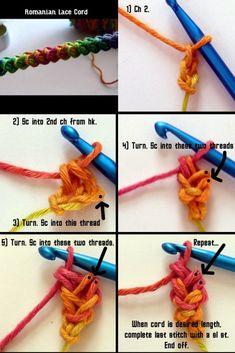 Crochet I Cord, Crochet Bracelet, Cute Crochet, Crochet Motif, Crochet Crafts, Crochet Projects, Doilies Crochet, Single Crochet, Crochet Ideas