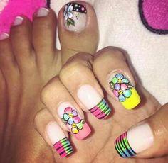 Uñas Manicure, Nails, Nail Art, Fancy, Beauty, Color, Style, Neon, Ideas
