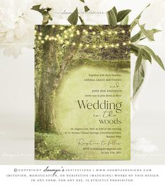 Rustic Trees Wedding Invitation, Woodland Fairytale Wedding Invitation by Soumya's Invitations