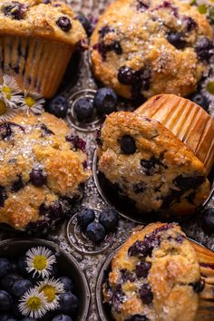 Banana Blueberry Muffins, Blue Berry Muffins, Banana Bread, Easy Cookie Recipes, Muffin Recipes, Yummy Recipes, Dessert Recipes, Homemade Muffins, Frozen Blueberries