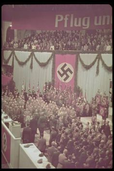 """A grand gathering of the National Socialist German Workers Party (NSDAP) and its many supporters gather in the Sportpalast of Berlin to listen to what would become, arguably, Adolf Hitler's best speech; known as the 'Proclamation of the German Nation'. The speech was given upon Hitler's electoral victory in 1933. His beginning words: """"The great epoch which for fourteen years we awaited has now begun. Germany has now awakened!"""""""