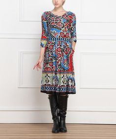 Another great find on #zulily! Red & Blue Floral Drape Neck Dress #zulilyfinds