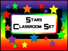 Classroom Set- STAR THEME- This set includes the following: -Desk name tags (both regular and primary) -Charts (1 to 100, addition, and multiplication- 2 sizes) -Number lines (0 to 20, 0 to 40 skip counting by 2 and -10 to 10) -Calendar numbers (differences for odd numbers, even numbers, multiple of 3 and multiple of 5) -2 ABC sets -Assortment of tags, labels, pencil toppers, charts, posters, hall passes, directions and more.