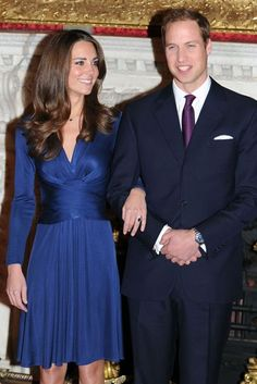 November 16 2010 For the press announcement of her engagement to Prince William she was dressed in a sapphire blue dress by Issa. It was the first time she was photographed wearing her 18-carat engagement ring, which had belonged to William's mother Diana, Princess of Wales.