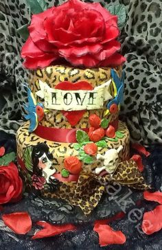 """❥ Tattoo Cake by """"Let's Eat Cupcakes"""" on FB (this could be called the Kat Von D cake!) ;)"""