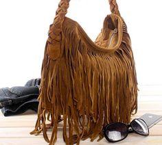 Alexis Suede Fringe Handbag