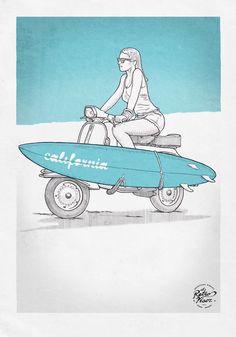 CALIFORNIA GIRL illustration by El RetroVisor https://www.facebook.com/elretrovisor66
