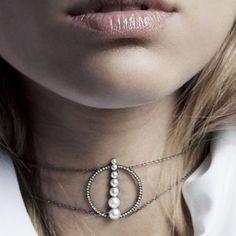 Jewels: pearl choker necklace silver diamonds designer geometric anissa kermiche