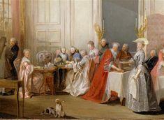 Le The a l'anglaise servi dans le salon des Quatre-Glaces au palais du Temple a Paris (detail), 1764 by Michel Barthelemy Ollivier (1712-1784) (Réunion des Musées Nationaux-Grand Palais)