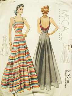 McCall 3193 | ca. 1939 Misses' Evening Dress evening gown stripes late 30s early 40s war era vintage fashion style WWII pattern color illustration