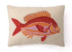 Nautical Hook Speckled Rock Fish Throw Pillow