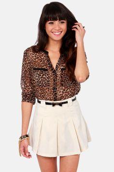 Status Bow Cream Belted Skirt at LuLus.com!