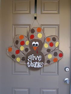 Cute door decor for Thanksgiving! Maybe on other side a spider so it can be flipped and used for both holidays. Thanksgiving Door Decorations, Thanksgiving Wreaths, Fall Wreaths, Thanksgiving Ideas, Holiday Decorations, Cute Crafts, Fall Crafts, Holiday Crafts, Diy Crafts