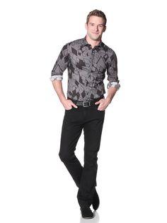 70% OFF Byblos Men's Boster Slim Shirt (Black/Charcoal) #Shirt #Men #ShirtsSweaters