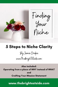Find your niche! Here are a quick 5 steps to niche clarity that will help you get clear on you message, start creating your brand story and connect with your ideal client. Home Based Business, Online Business, Midlife Career Change, Blog Writing Tips, Virtual Assistant Jobs, Brand Story, Online Entrepreneur, Work From Home Moms, Blogging For Beginners