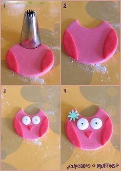 como hacer un búho para tortas