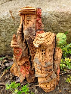 Cottonwood Fairy House Hand Carved - Hideaway. $70.00, via Etsy.