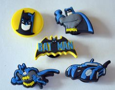 Retro Batman 5pc Shoe Charms Cake Toppers Birthday Party Pack, Locker Magnets, Back Pack Zipper Pulls fit Wristbands Crocs by GroovyDeals on Etsy