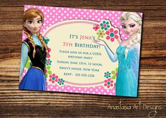 Elsa and Anna Frozen Birthday by AnastasiaArtDesigns, $8.99 Anna Frozen, Disney Frozen, 5th Birthday, Birthday Parties, Frozen Birthday Invitations, Rsvp, Tea Party, Elsa, Party Ideas